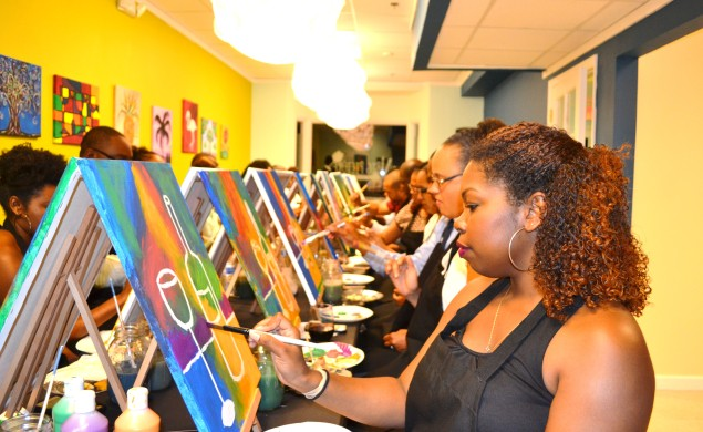 Pic 3 Guest enjoying Big Picture Paint and Sip Experience